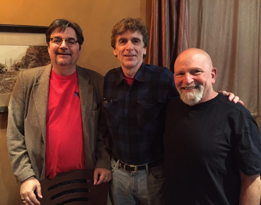 Leo with fellow Brash Books writers Phoef Sutton (l) and Craig Faustus Buck